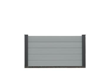 EURO WALL Composiet schutting licht grijs 100cm hoog